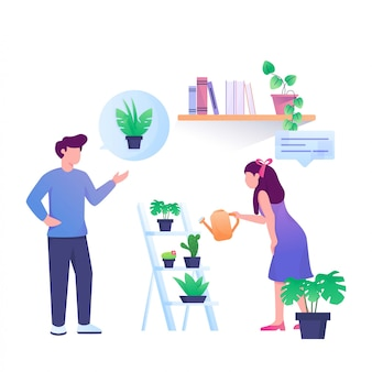 Ask to shop plants illustration