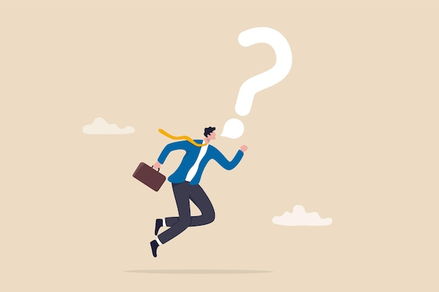 Asking business question to find answer or solution, speak out loud to get support for work problem concept, brave confident businessman speak out loud with speech bubble question mark symbol.