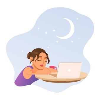 眠って、フラットスタイルの仕事のフリーランスの女の子のイラストに疲れました。ベクトルイラスト