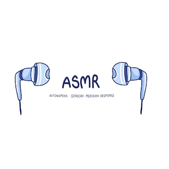 Asmr and earphone drawing illustration