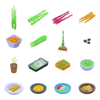 Asparagus icons set. isometric set of asparagus icons for web design isolated on white background