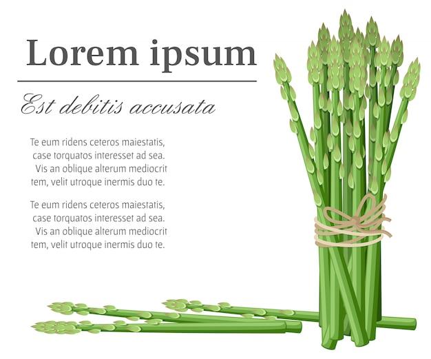 アスパラガスの野菜植物の束は、装飾的なポスターエンブレム天然産物ファーマーズマーケットのwebサイトページとモバイルアプリのテキストの場所と図の茎の図を茎します。