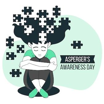 Illustrazione di concetto di giorno di consapevolezza di asperger