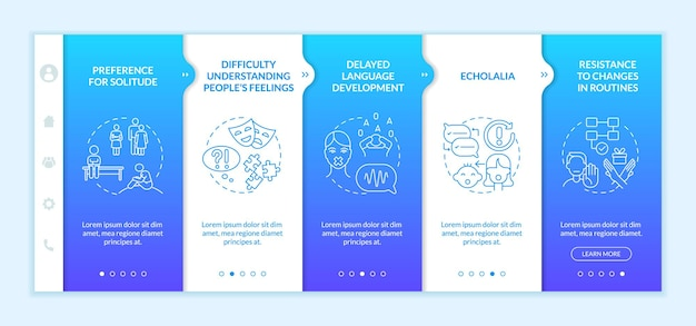 Asperger syndrome signs onboarding vector template. responsive mobile website with icons. web page walkthrough 5 step screens. resistance to changes in routine color concept with linear illustrations