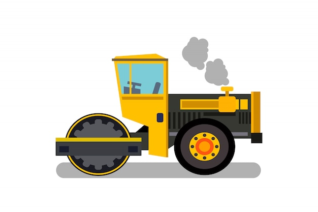 Asphalt paver, steamroller flat color illustration