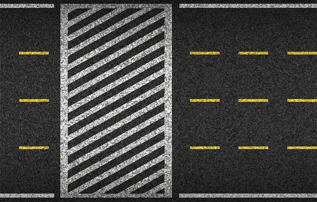 アスファルト道路と横断歩道の上面図。安全運転と移動。