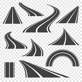 Asphalt road   .curved  perspective highway with markings.set of icons .