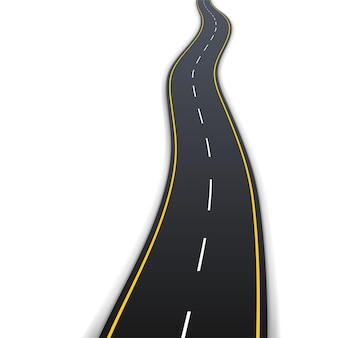 Asphalt road with white and yellow marking for vehicle driving isolated on white background. realistic 3d highway path with navigation. vector illustration