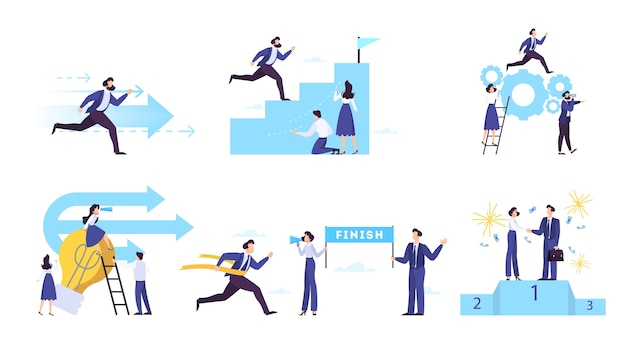 포부와 비즈니스 목표 웹 배너 개념 집합입니다.