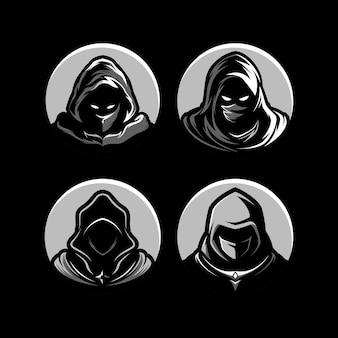 Шаблон игрового маскота с эмблемой эмблемы assassin