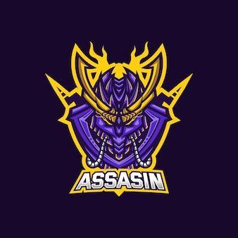Шаблон логотипа игрового талисмана assassin esport для команды стримеров.