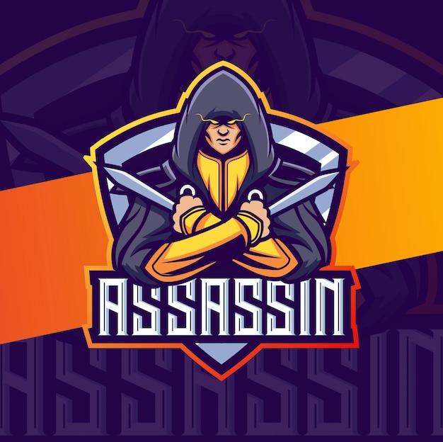 Убийца талисман киберспорт дизайн логотипа