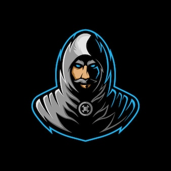 Assassin mascot logo, with a mysterious face with a mustache in a gray robe