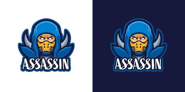 暗殺者の戦士のマスコットのキャラクターのロゴのテンプレート