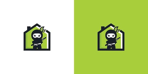暗殺者の戦士のマスコットのロゴゲームイラストプレミアムベクトル