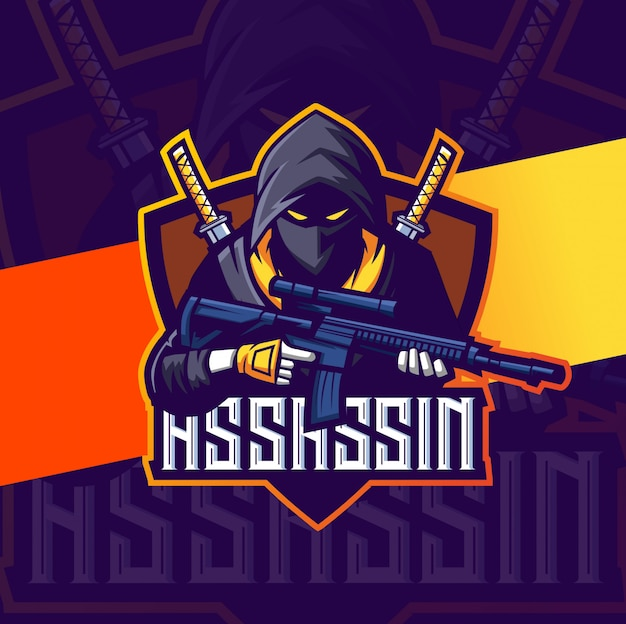 Assassin with gun mascot esport logo team