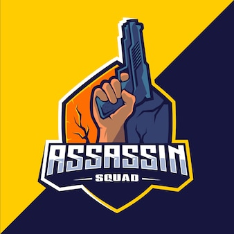 Убийца с оружием талисман киберспорт дизайн логотипа