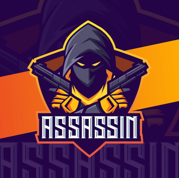 Assassin with guns mascot esport logo