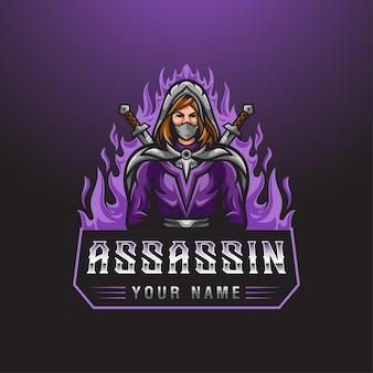 Eスポーツゲームのマスコットのロゴのテンプレートの2つの剣と火の背景を持つ暗殺者の女性キャラクター