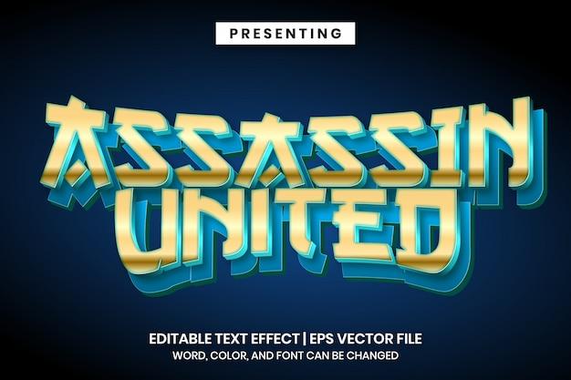 Шаблон логотипа игры assassin - редактируемый текстовый эффект