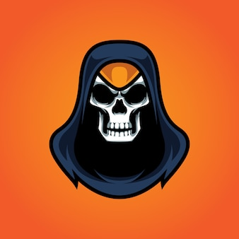 Assassins skull e sport mascot logo
