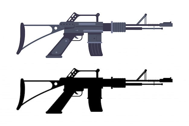 Assault rifle   weapon isolated on a white background.