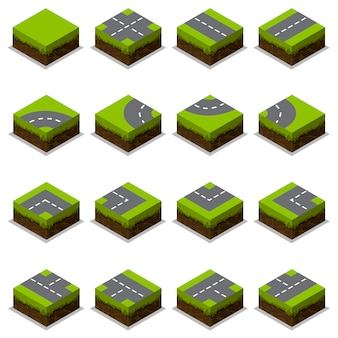 Assembled isometric road intersection