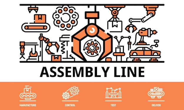 Assembly line banner, outline style