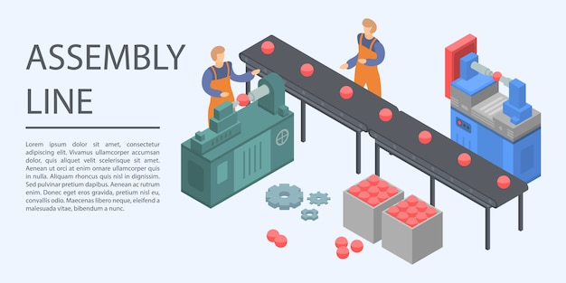 Assembly line concept banner, isometric style