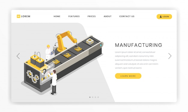 Assembly line, factory landing page template. production, manufacturing facility engineers and workers