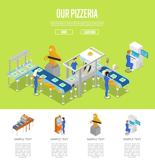 Assembly line isometric 3d template