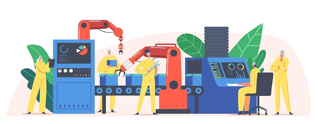 Assembly line with robotic arms, male female factory worker or engineer characters automated production process, high tech machinery, industrial revolution concept. cartoon people vector illustration