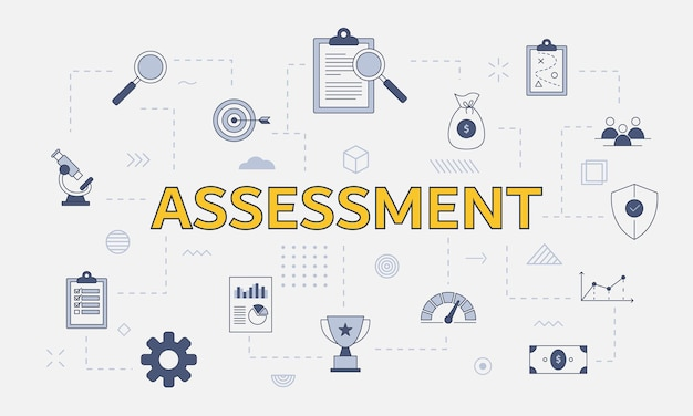 Assessment concept with icon set with big word or text on center