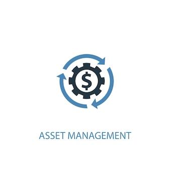 Концепция управления активами 2 цветной значок. простой синий элемент иллюстрации. дизайн символа концепции управления активами. может использоваться для веб- и мобильных ui / ux