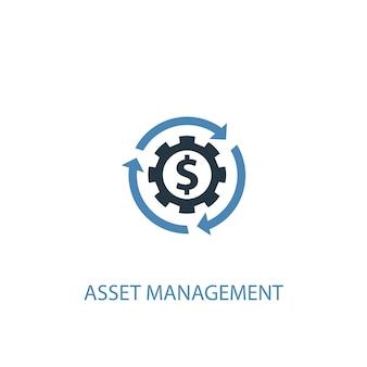 Asset management concept 2 colored icon. simple blue element illustration. asset management concept symbol design. can be used for web and mobile ui/ux