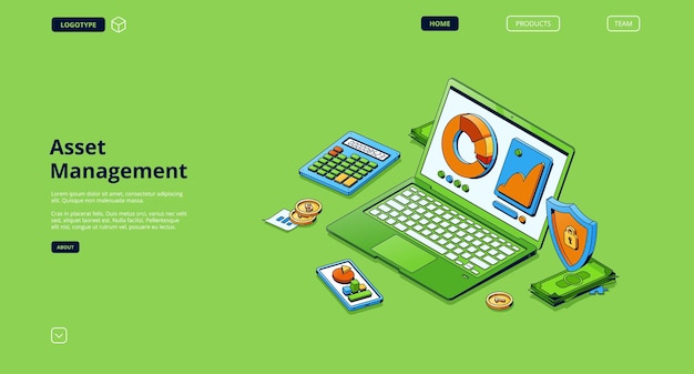 Asset management isometric landing page.