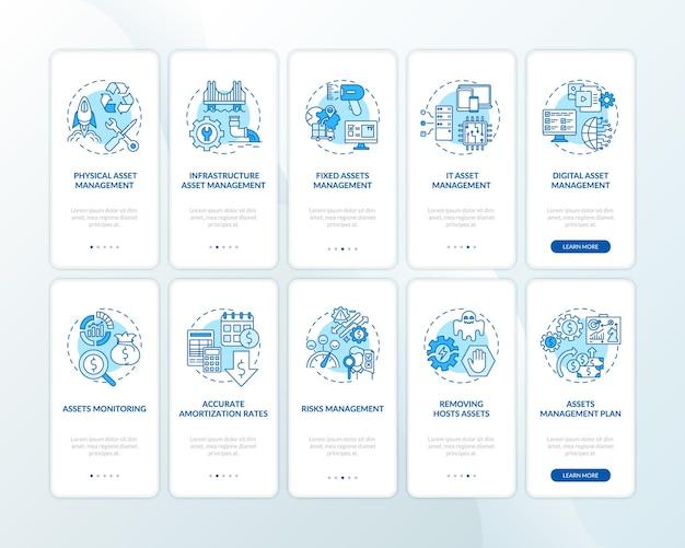 자산은 개념이 설정된 온 보딩 모바일 앱 페이지 화면을 제어합니다.
