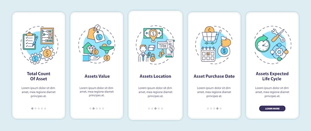 Assets inventory elements onboarding mobile app page screen with concepts illustration