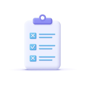 Assignment icon. clipboard, checklist, document symbol. business, education concept. 3d vector illustration.