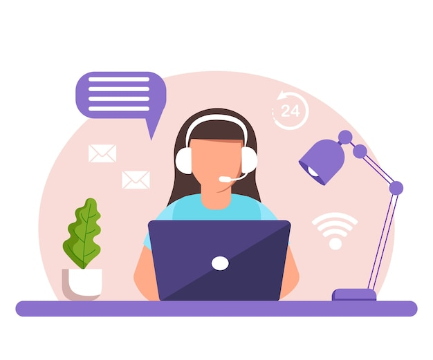 Assistance, call center. woman with headphones and microphone with laptop.