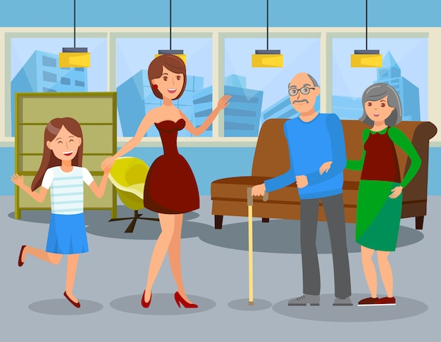 Assisted living service flat vector illustration