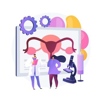 Illustrazione di vettore di concetto astratto di tecnologia di riproduzione assistita (art). procedure di infertilità, uovo di donna, test di gravidanza, donazione di sperma, metafora astratta della clinica di medicina riproduttiva.