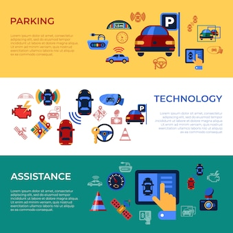 Assisted transportation and parking sensing system icons collection