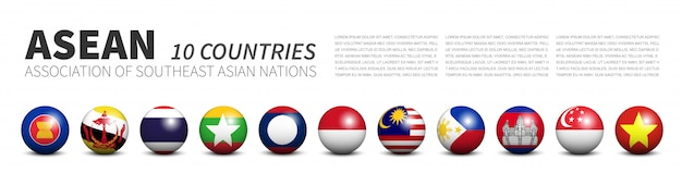 Association of southeast asian nations flags in tridimensional spheres