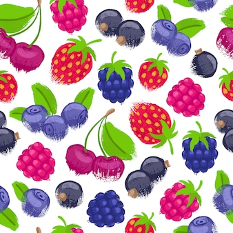 Assorted berries  seamless pattern.