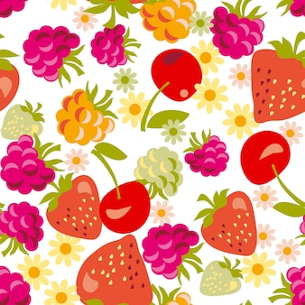 Assorted berry seamless pattern