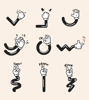Assorted collection of comic cartoon hand gesture. hand and arms in separated group.