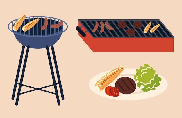 Ассорти вкусных блюд на гриле