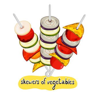 Assorted delicious grilled skewers of vegetables