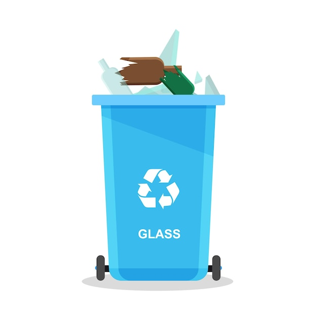 Стеклянный мусор в ассортименте в специальной урне. концепция утилизации. контейнеры для утилизации отсортированного мусора и мусора.